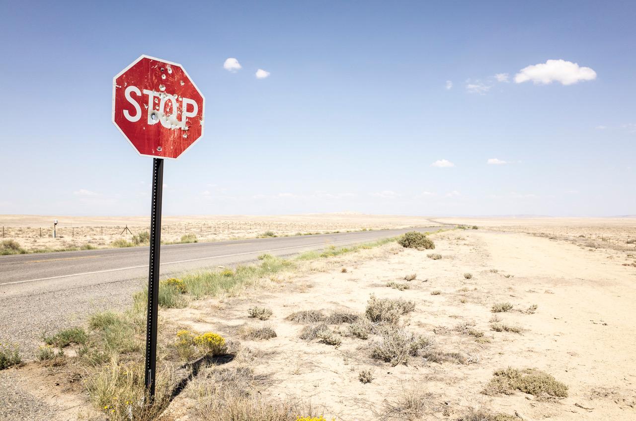 Stoppschild, Shiprock, New Mexico, 5. September 2013